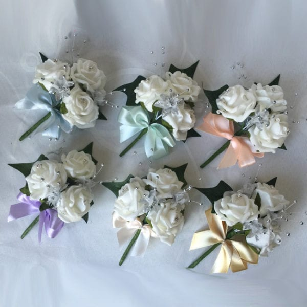 Artificial Buttonhole Wedding Corsage Matching Ladies Men