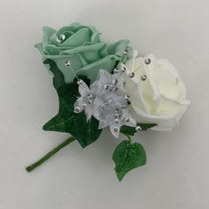 Artificial Double Buttonhole Wedding Corsage Crystal Mint