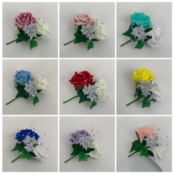 Artificial Double Buttonhole Wedding Corsage Crystal