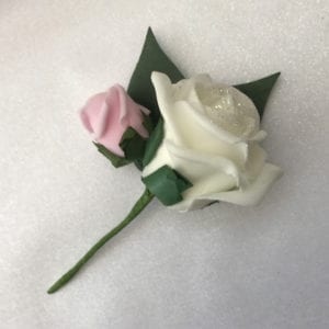 Artificial Double Buttonhole Wedding Corsage Glitter