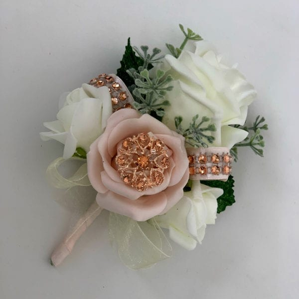 Artificial Ladies Buttonhole Wedding Corsage Diamante