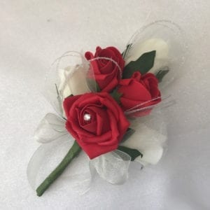 Artificial Ladies Buttonhole Wedding Corsage Glitter Hoops Diamante Red