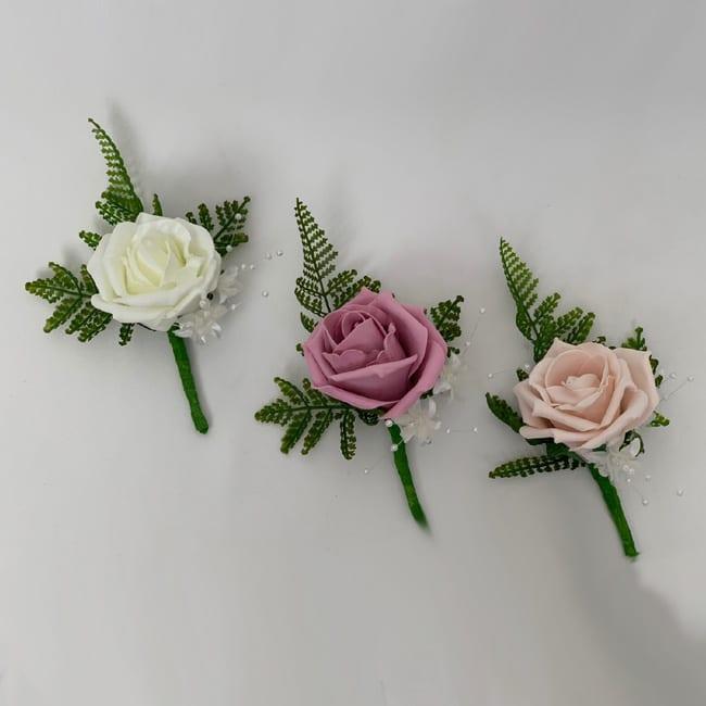 artificial wedding flower rose single buttonholes