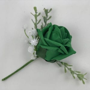 Artificial Single Wedding Corsage Gypsophila Emerald Green Rose