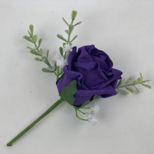 Artificial Single Wedding Corsage Gypsophila Purple Rose