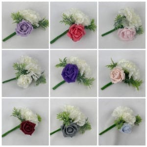 Artificial Single Wedding Corsage Ivory Carnation