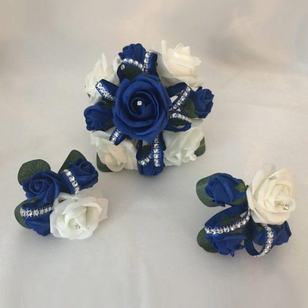 Artificial Wedding Cake Topper Diamante Ribbon 3 Piece