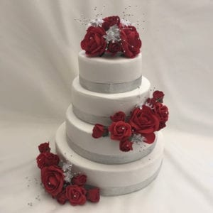 Artificial Wedding Cake Topper Silver Flower Sprays 3 Piece