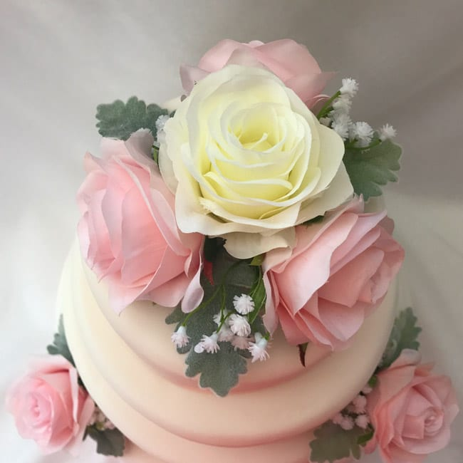 Flower Cake Toppers For Weddings: Artificial Wedding Cake Topper Silk Roses 3 Piece