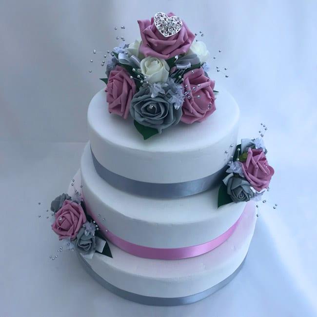 Silk Flower Wedding Cake Toppers: Artificial Wedding Cake Topper Silver Heart 3 Piece