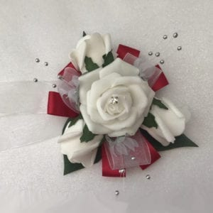 Artificial Wedding Corsage Prom Wrist Corsage Red Ribbon