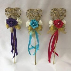 Artificial Wedding Flower Girl Wands Gold Glittered Heart