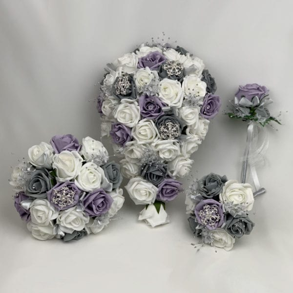 Artificial Wedding Flowers Package Brooches Roses 3 Colours Purple and Grey