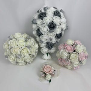 Artificial Wedding Flowers Package Diamante Roses 2 Colours