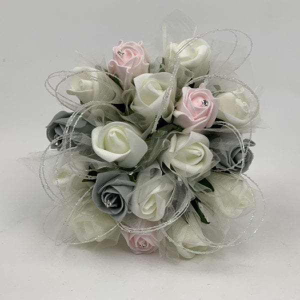Artificial Wedding Flowers Package Glittered Hoops Roses 3 Colours