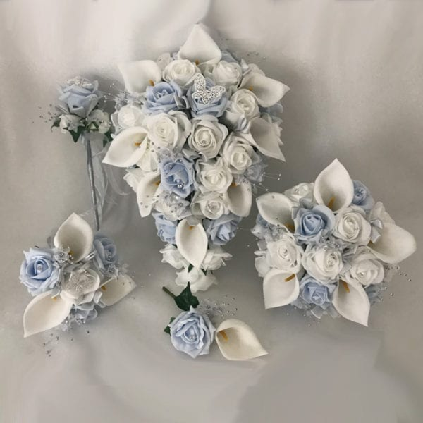 Artificial Wedding Flowers Package Mixed Lillies and Roses 2 Colours