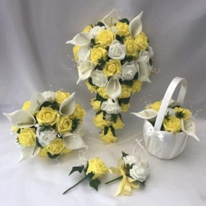Artificial Wedding Flowers Package Mixed Lillies and Roses 3 Colours