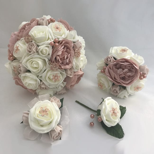 White And Gold Wedding Flowers: Artificial Wedding Flowers Package Rose Gold