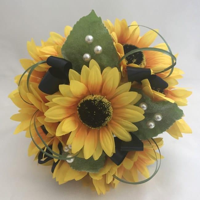 Fake Wedding Flowers Uk: Artificial Medium Bridesmaid Bouquet Bridal Posy Sunflowers
