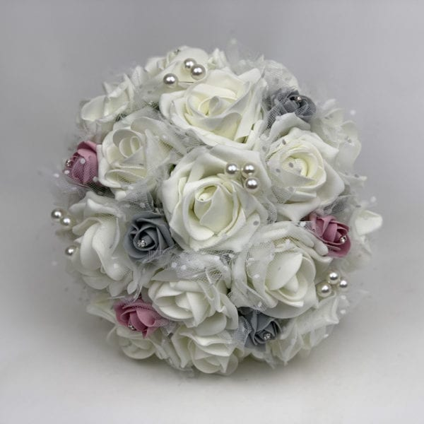 Artificial Wedding Flowers Packages Netted Roses 3 Colours