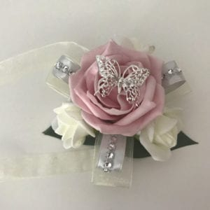 Artificial Wedding Flowers Prom Wrist Corsage Butterfly