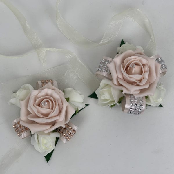 Artificial Wedding Flowers Prom Wrist Corsage Diamante Ribbon