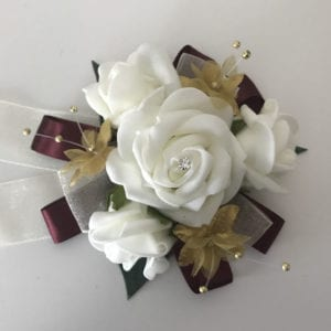 Artificial Wedding Flowers Prom Wrist Corsage Gold
