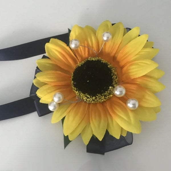 Artificial Wedding Flowers Prom Wrist Corsage Sunflower