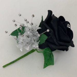 Black Artificial Wedding Flowers Buttonhole Ivy