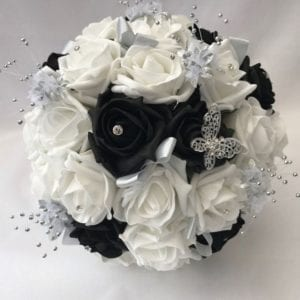 Artificial Wedding Flowers black posy with crystal sprays
