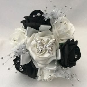 black Artificial Wedding Flowers small posy crystal sprays and silver butterfly