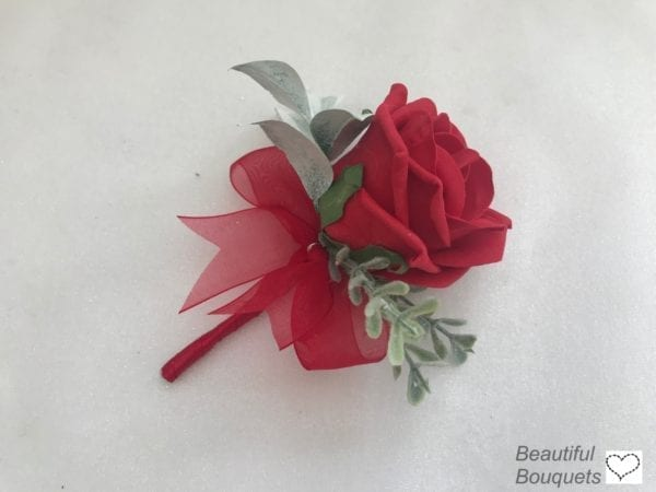 rose buttonhole red