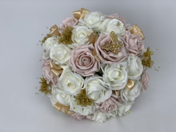 brides posy gold butterfly
