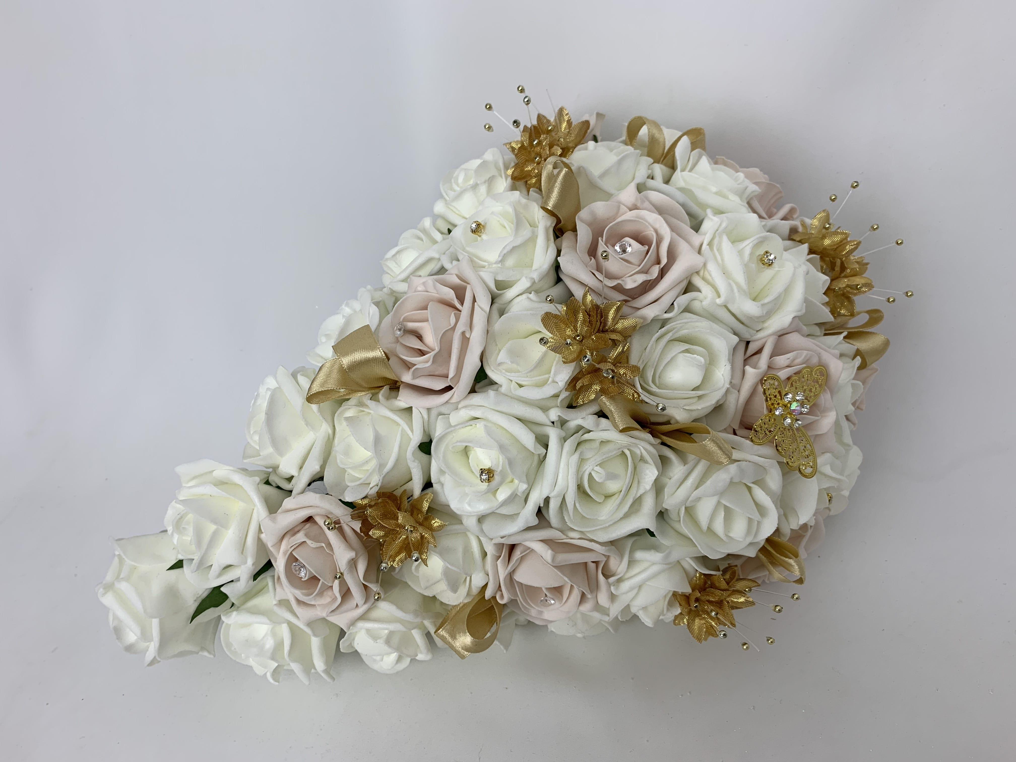 Artificial Bridal Teardrop Bouquet Butterfly Gold