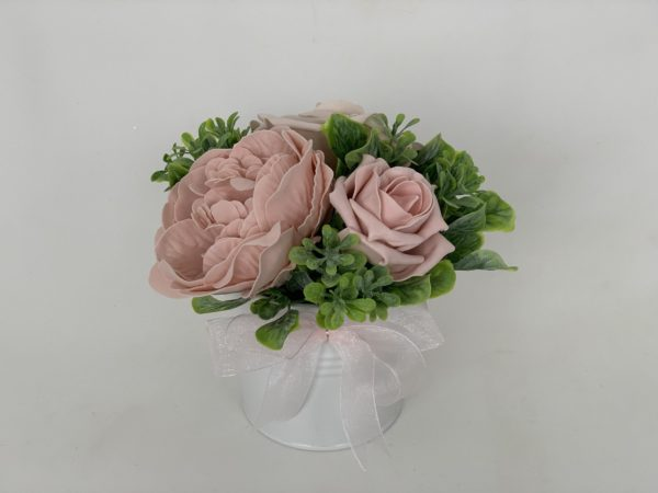 Peonies table decoration in pot