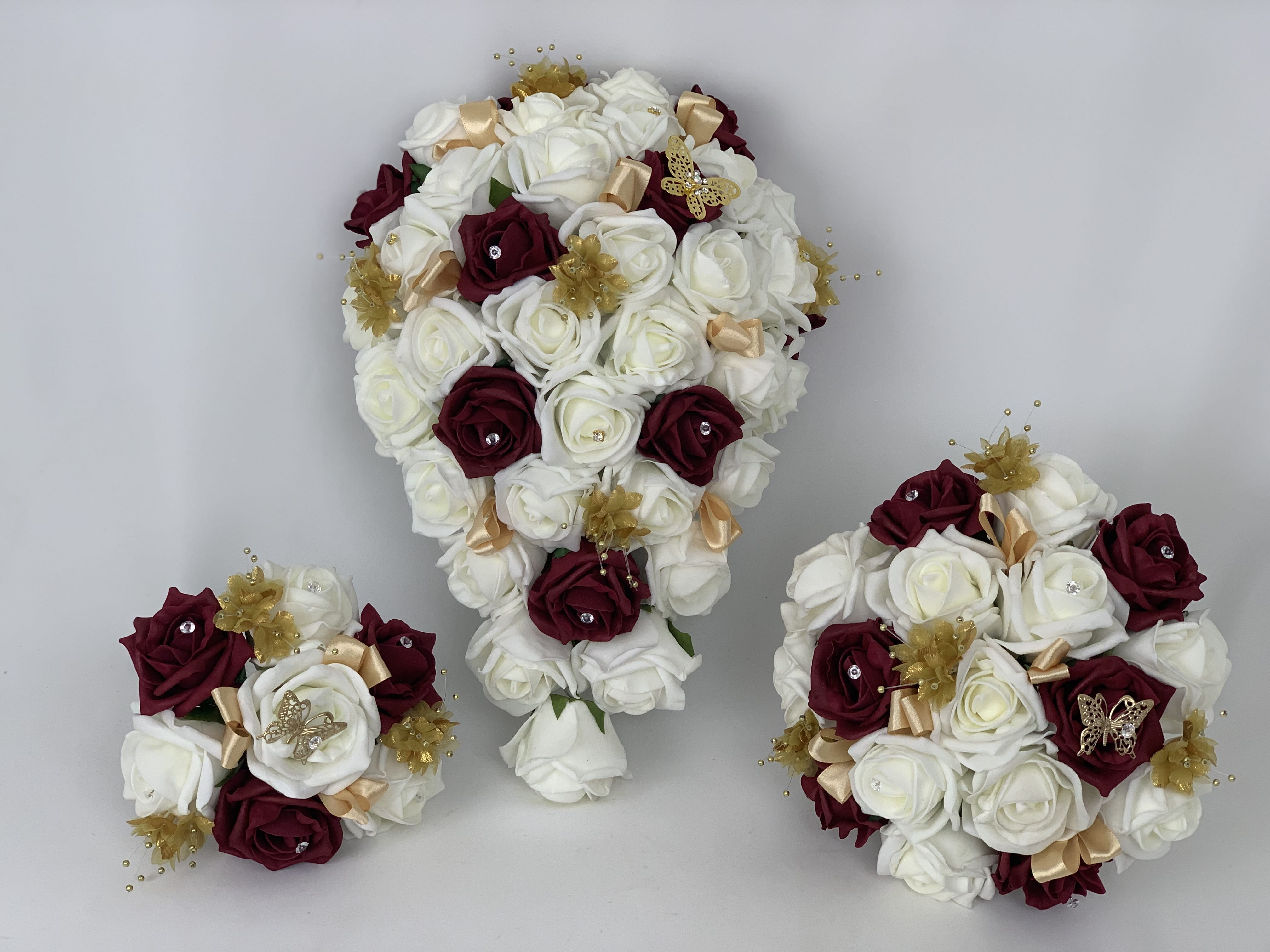 Artificial Wedding Flowers Package Butterfly Roses Gold (2