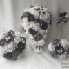 Artificial Wedding Bouquets Plum Grey