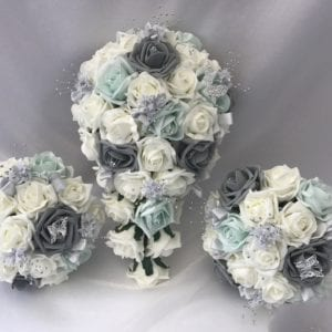Artificial Wedding Bouquets Peppermint grey