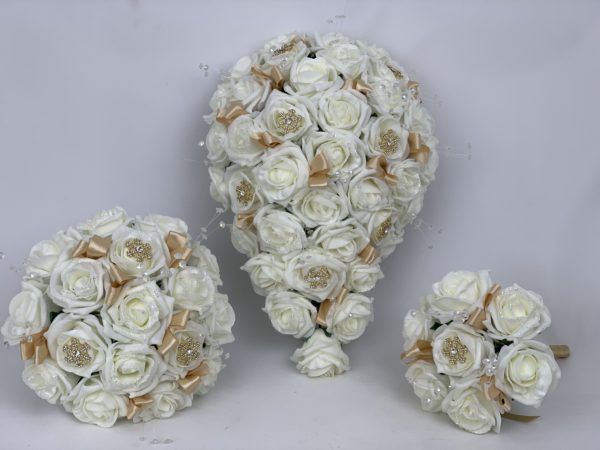 Artificial Wedding Flowers - Gold Snowflakes