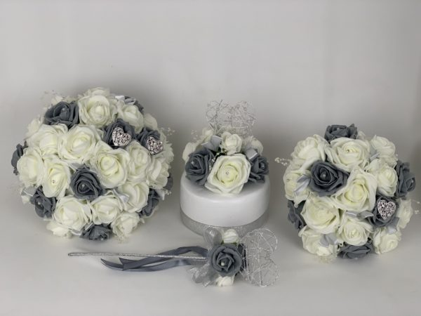 Artificial Wedding Flowers - Hearts Pearls