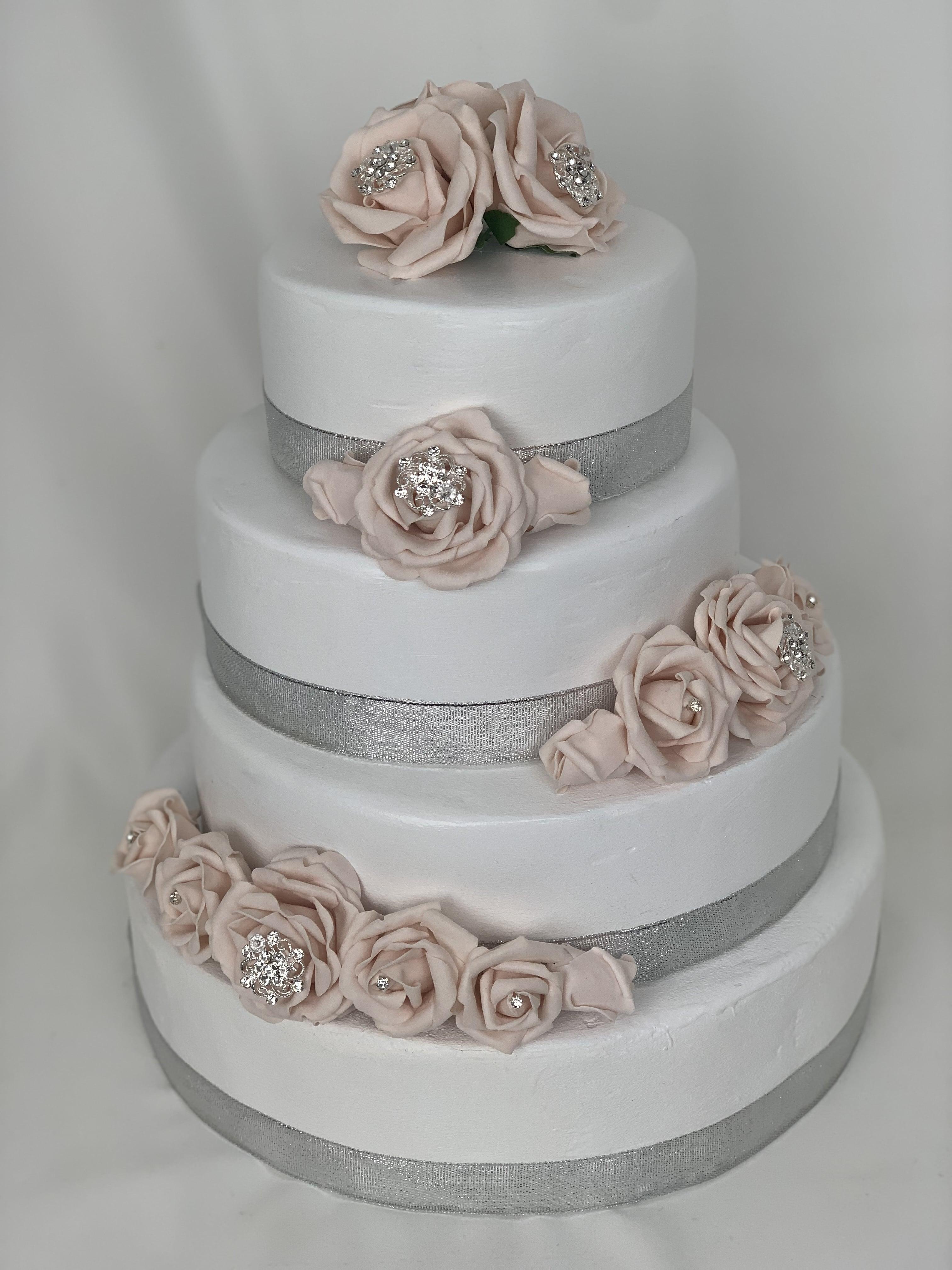 Artificial Wedding Cake Topper Silver Diamante Brooch