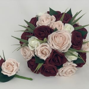 Artificial Wedding Flowers Blush Pink and Burgundy