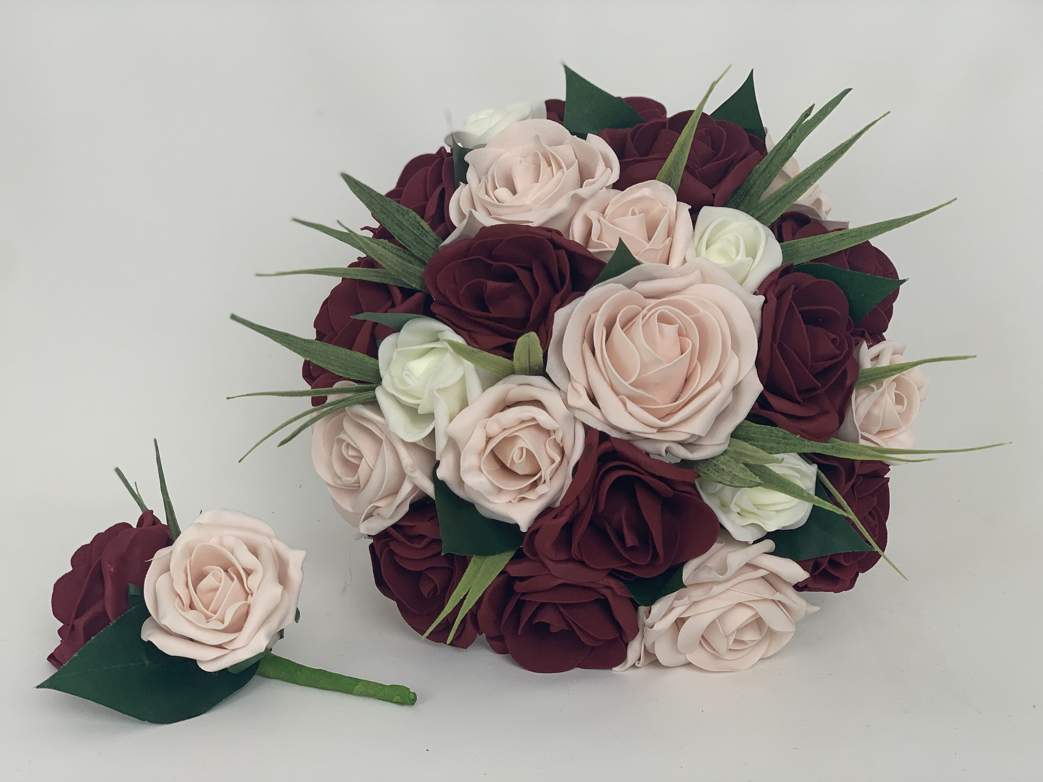 Artificial Wedding Bouquets.Artificial Wedding Flowers Package Blush Pink Burgundy
