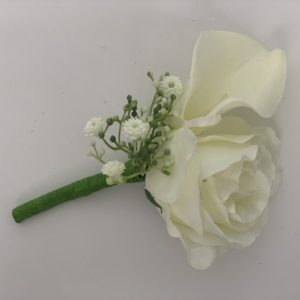 silk calla lily with gypsophila buttonhole