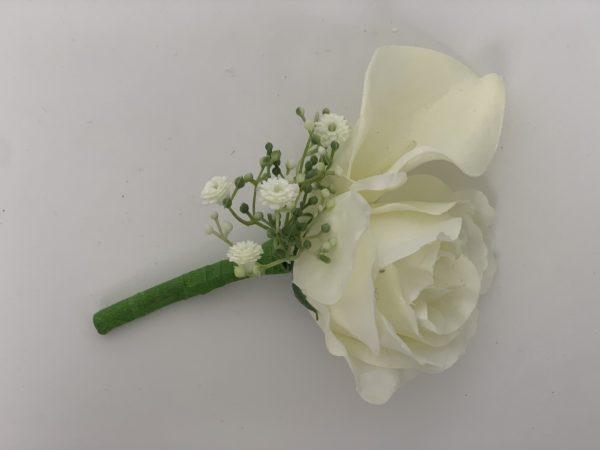 silk calla lily with gypsophila buttonhole