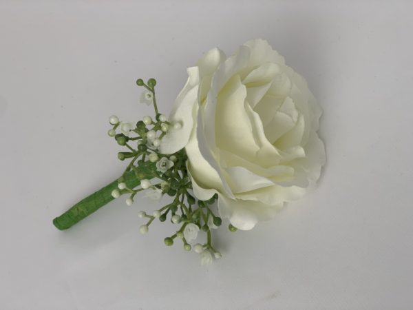 silk rose buttonhole with added gypsophila