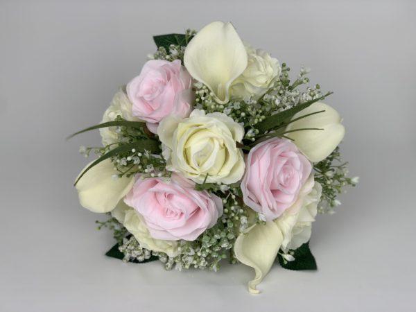 Artificial wedding bouquet with gypsophila