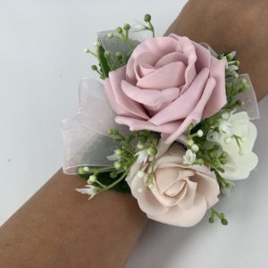 wrist corsage with roses & gypsophila