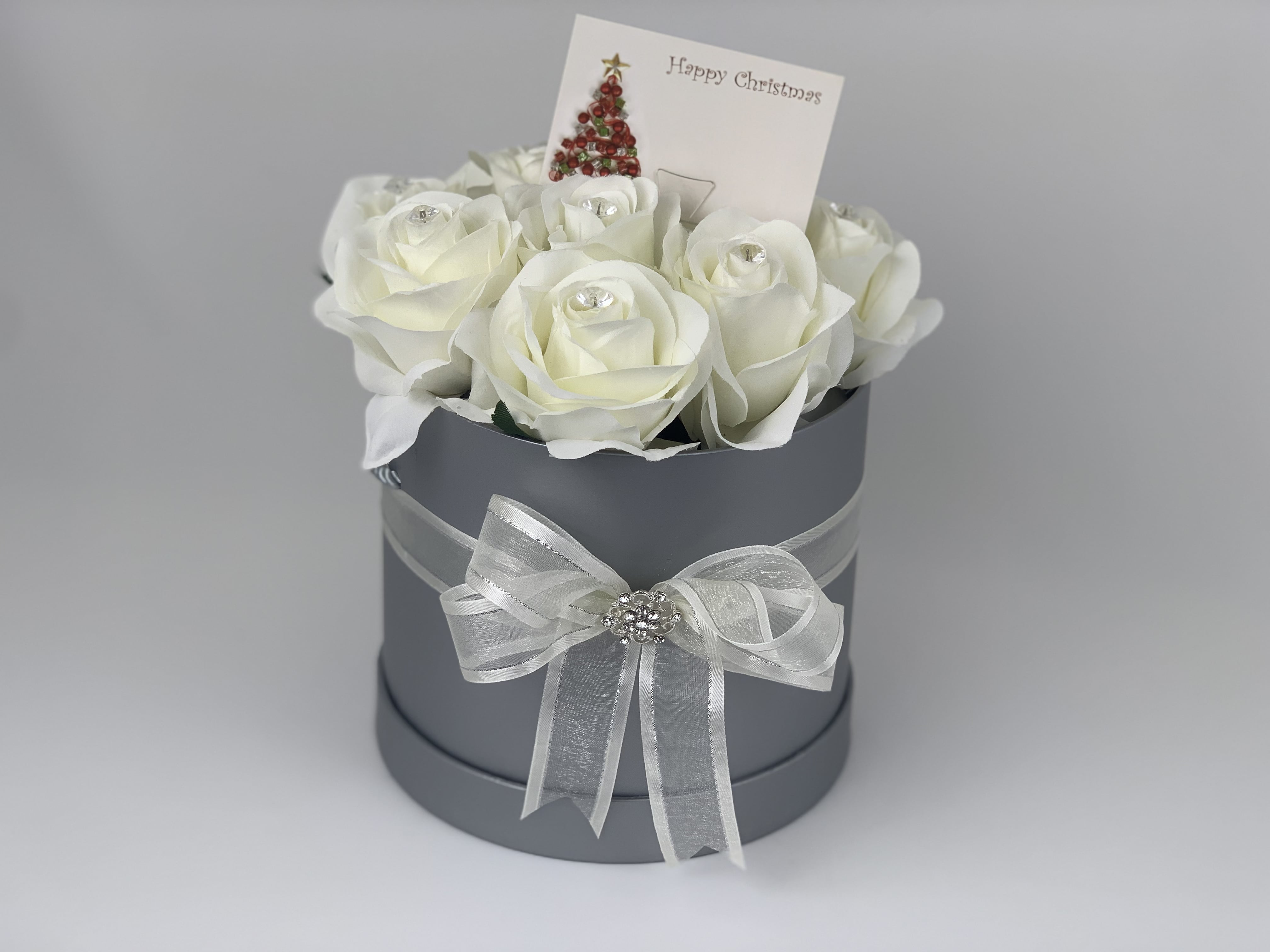 Artificial Flowers Gift Hat Box Medium Silk Roses