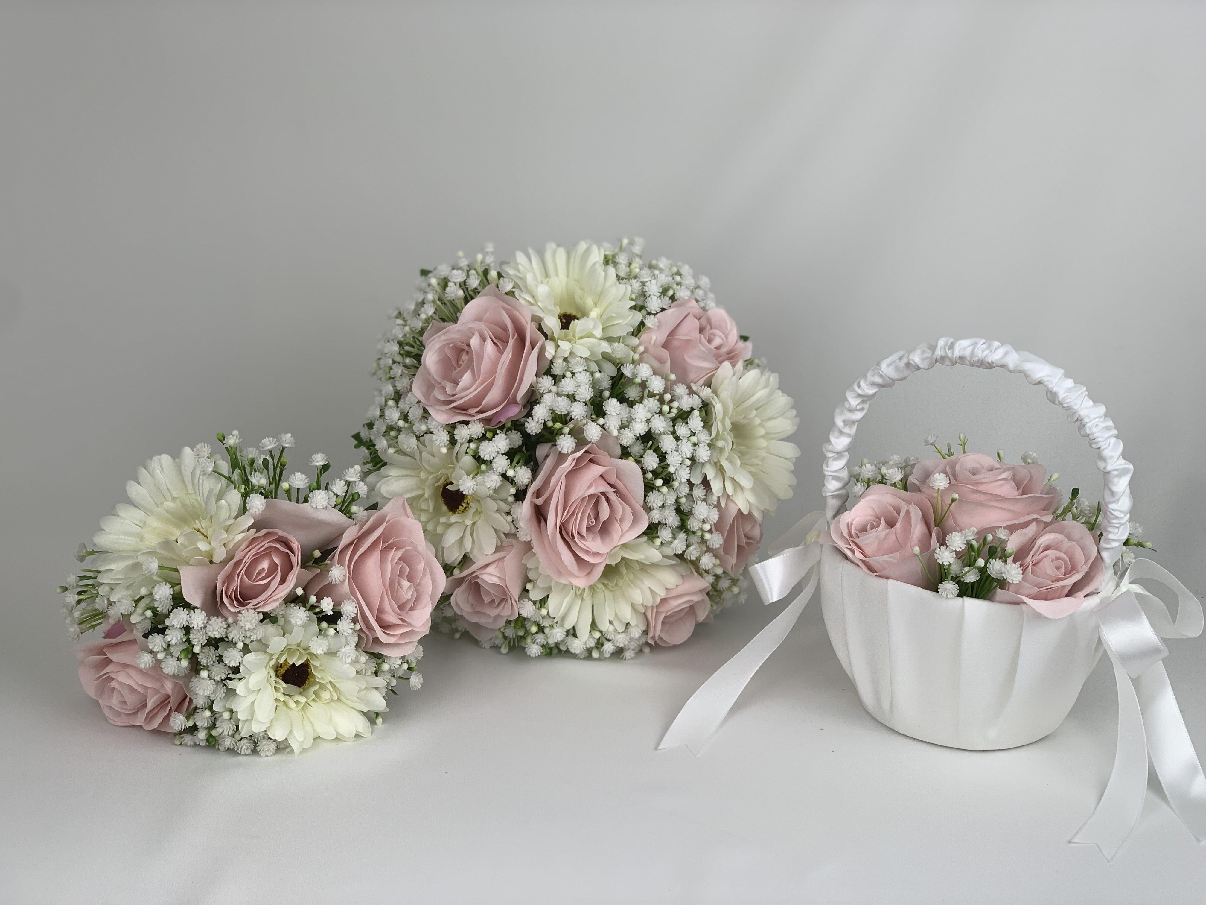 Artificial Wedding Flowers Package Gerbera Gypsophila Roses